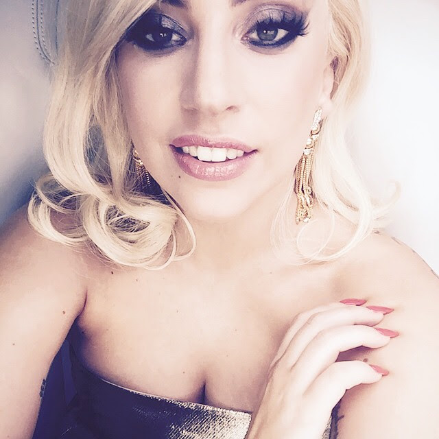 BEFORE: Here's Gaga with a  short blonde wig