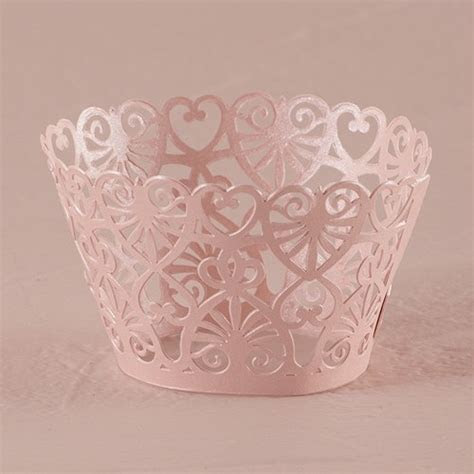 Lace Hearts Filigree Paper Cupcake Wrappers   The Knot Shop