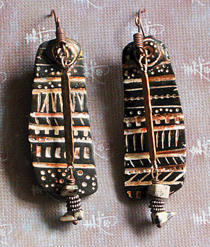 Mudcloth earrings - polymer clay (by Stories They Tell) Christine Damm