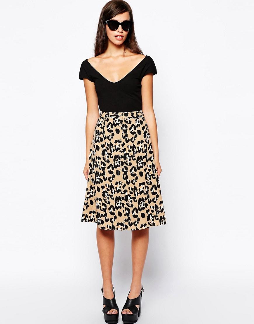 Image 1 ofGlamorous Button Through Midi Skirt in Animal Print