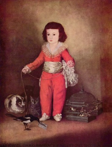 boy with cats and magpie by Francisco de Goya