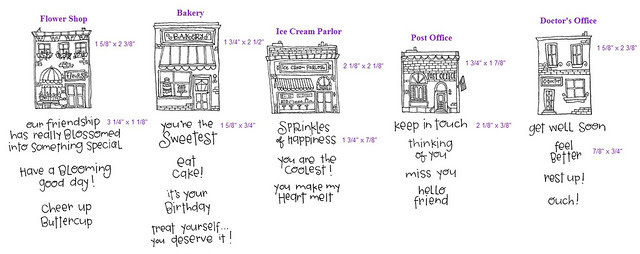 Hometown rubber stamp collection by Stephanie Ackerman for Purple Onion Designs