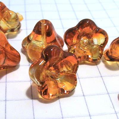 27802819-06 Glass Flowers - 11 x 13 mm Large Bellflower - Fire Opal (10)