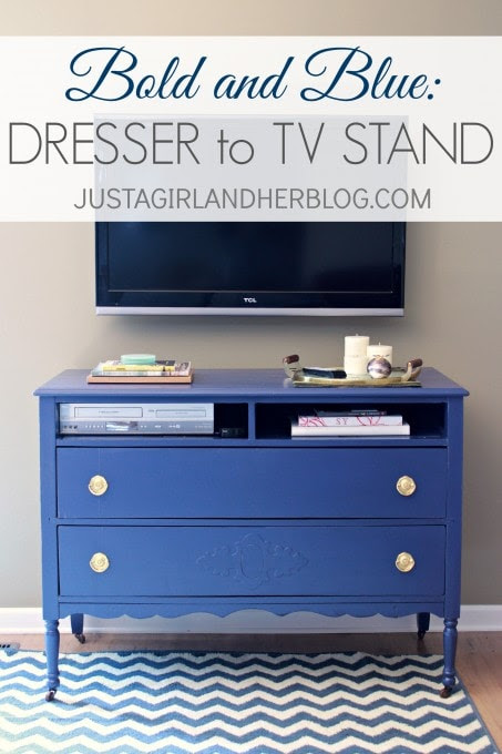 Bold And Blue Dresser to TV Stand by Just a Girl and Her Blog
