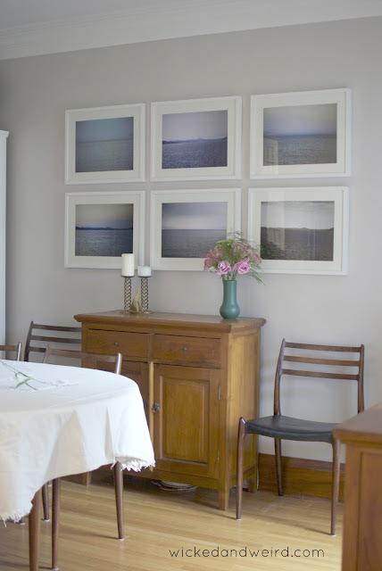 dining room photo wall via Wicked & Weird
