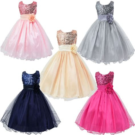 kids baby flower girls party sequins dress wedding