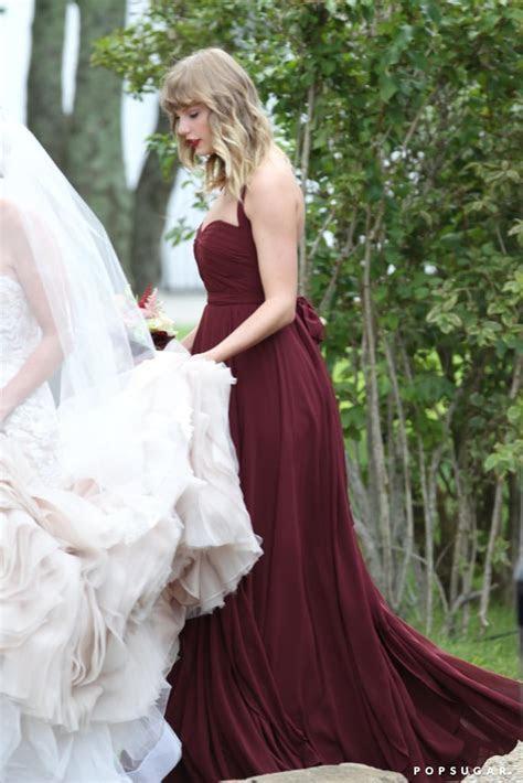 Taylor Swift's Maroon Bridesmaid Dress   POPSUGAR Fashion