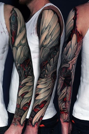 Black And White Wings Sleeve Tattoo Design Of Tattoosdesign Of Tattoos
