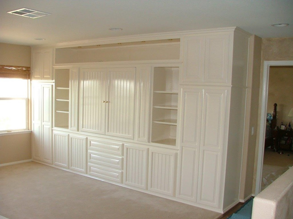 White entertainment center with beadboard doors ⋆ Cabinet ...