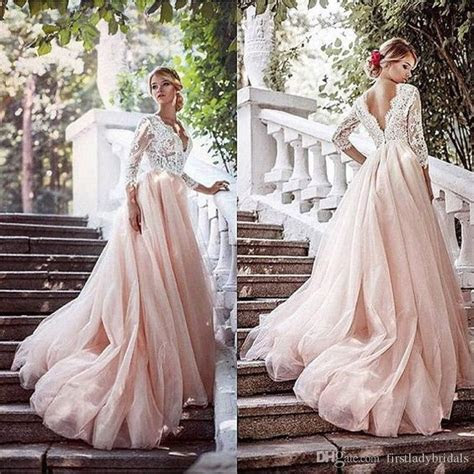 Blush Pink Wedding Dresses Deep V Neck Illusion Long 3/4