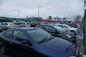 English: Rental hire car park, Aberdeen Airport