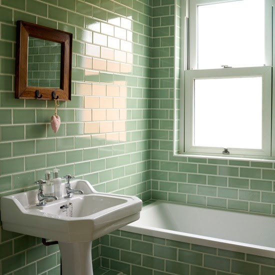 Bathroom with green metro tiles | Decorating with tropical ...