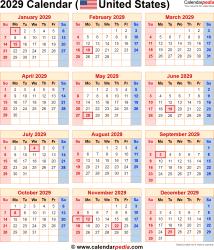 2029 calendar usa