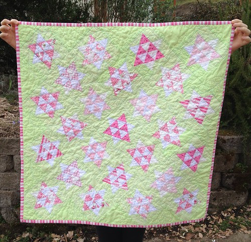 Dancing Stars baby quilt Raspberry Lemonade