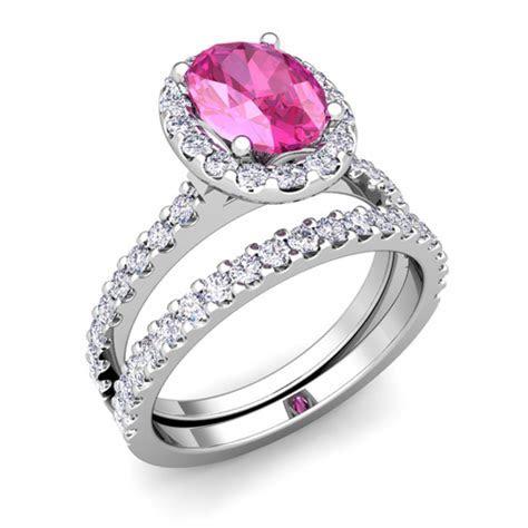Halo Bridal Set Pink Sapphire Engagement Wedding Ring
