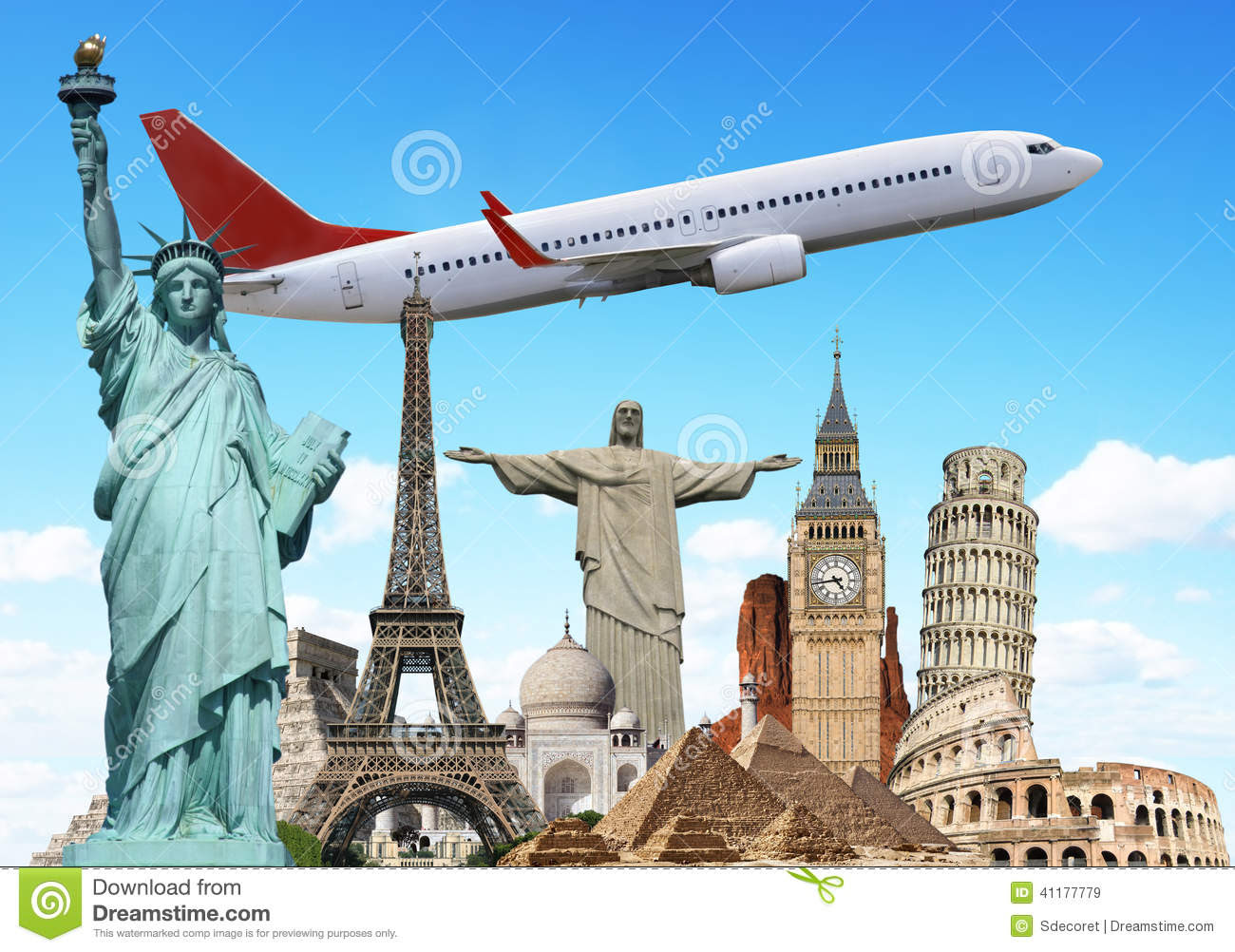 travel world monuments plane concept famous illustrating holidays 41177779