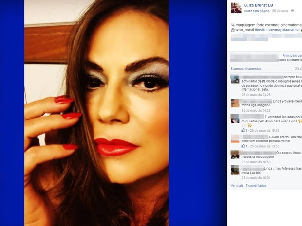 Luiza Brunet apoia causa do Instituto Avon contra a violência doméstica em sua página no Facebook, dias depois de suposta agressão (Foto: Reprodução/Facebook)
