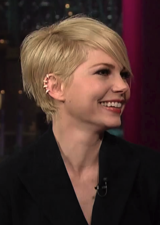LE FASHION BLOG MICHELLE WILLIAMS DAVID LETTERMAN SHOW CBS FEBRUARY 2013 HAIRCUT SHORT ASYMMETRICAL BOB REPOSSI BERBERE DIAMOND GOLD MULTI HOOP EAR CUFF PROMOTING MOVIE FILM WIZARD OF OZ SUIT DRESS