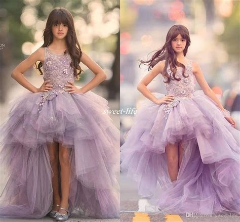 Purple High Low Flower Girls Dresses For Wedding