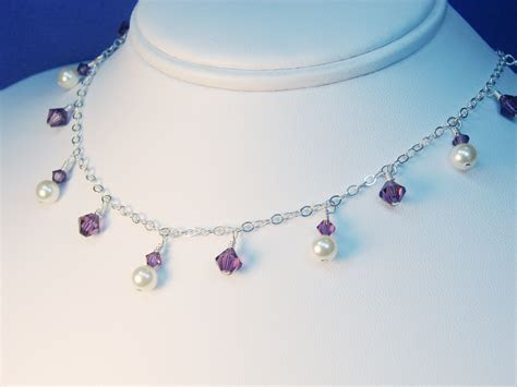Dawn Dangling Pearl and Crystal Silver Bridesmaid Necklace