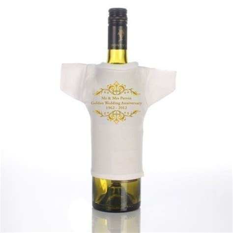Golden Anniversary Wine Bottle T Shirt   The Personalised