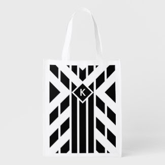 Black Quadrilateral Stripes on White with Monogram Grocery Bags