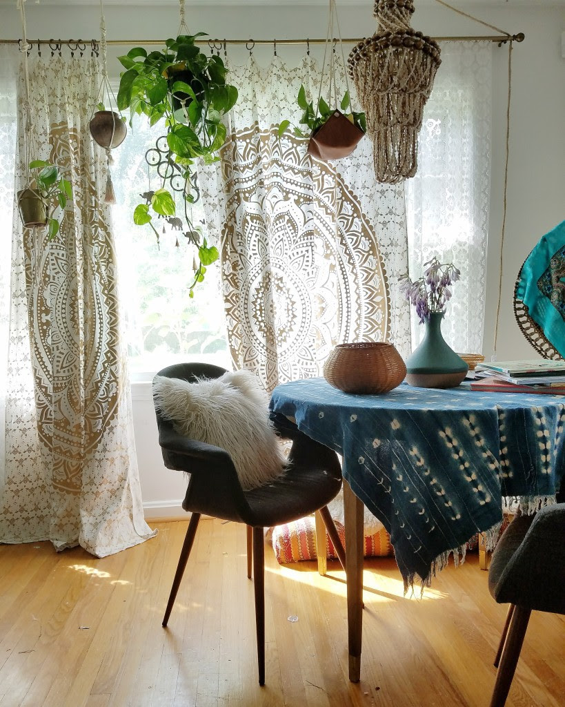 boho jungalicious dining room with global inspired decor