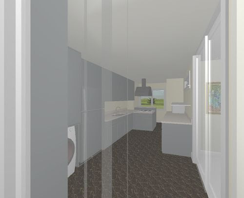 3D Kitchen From Living Room
