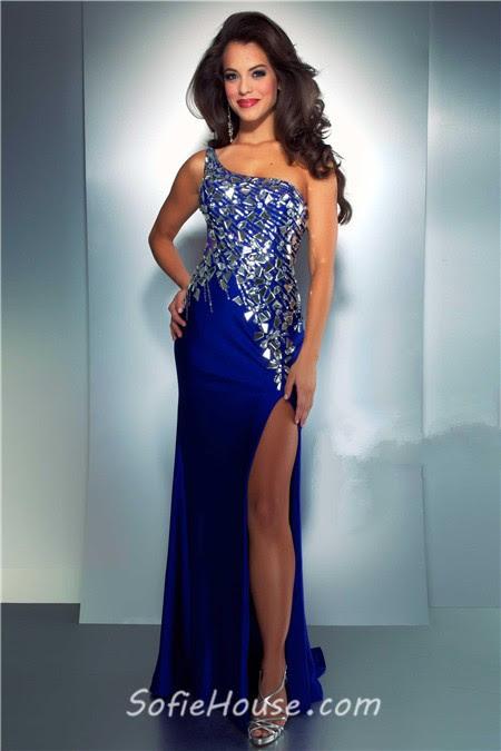 Blue sparkly evening dress