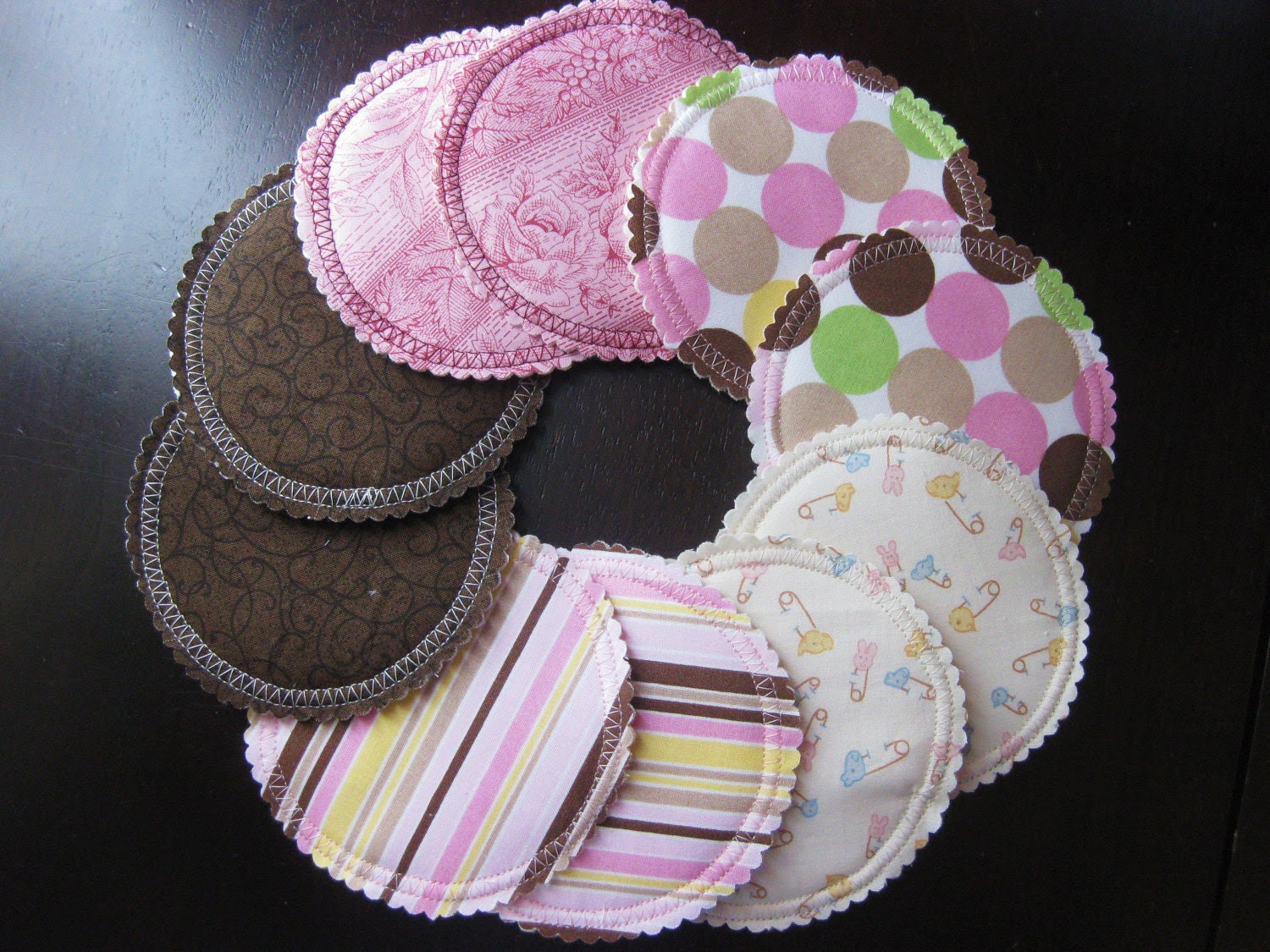 Organic Nursing Pads/ Breast Pads w Bamboo and PUL/ 10 pads/ COMPLEMENTARY SHIPPING