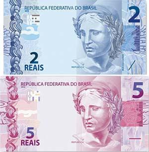 Notas de R$ 2 e R$ 5 da nova família do Real - Clique para ampliar (Divulgação Banco Central)