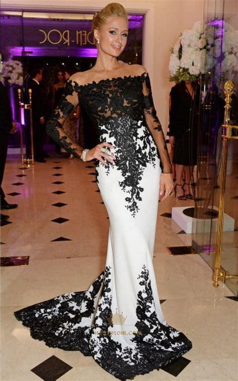 shoulder long sleeve white  black lace embellished