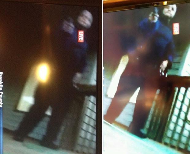 Imagens postadas em redes sociais mostram momento em que o atirador aparece no vídeo durante a entrada ao vivo (Foto: Reprodução)