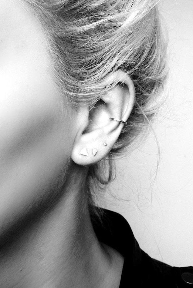 Le Fashion Blog Minimal Layered Earrings Multiple Piercings Small Triangle Earrings Delicate Dainty Ear Cuff Hoop Ring Via Still With You
