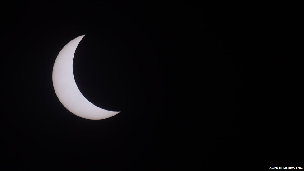 An eclipse of the sun over Northumberland