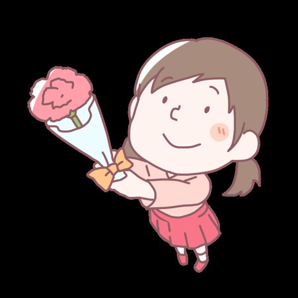 カーネーションを渡す女の子のイラスト かわいいフリー素材が無料のイラストレイン