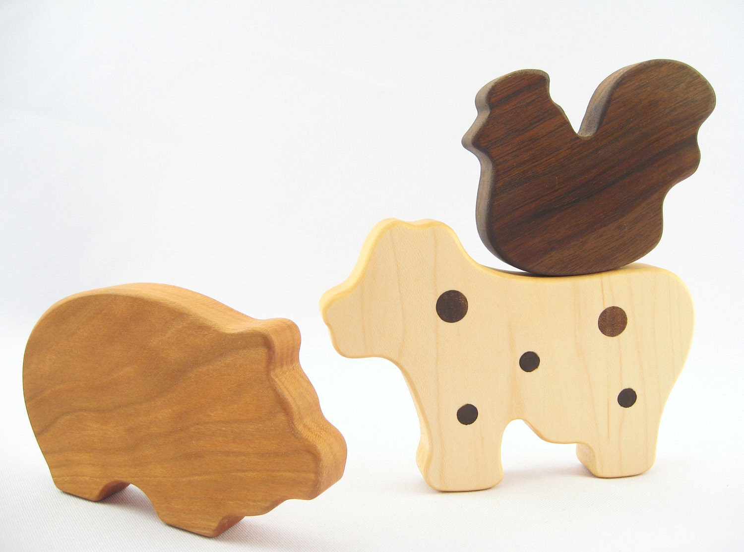 natural wood TEETHING gift set - organic eco-friendly wooden teethers for farm loving baby, Barnyard animal toys, homegrown organic finish