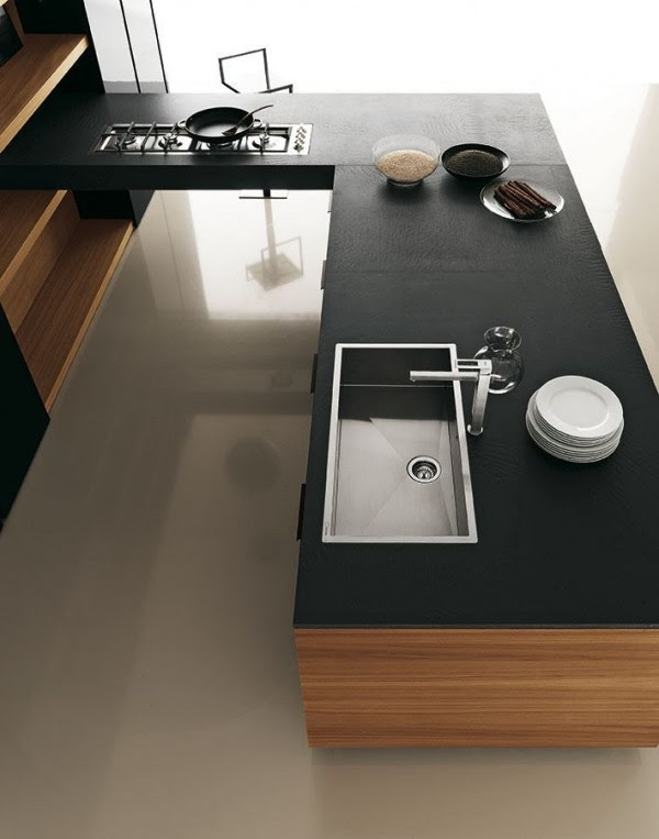 Cuisine Moderne Bois Et Noir Cuisine Moderne Inox Meubles Rangement