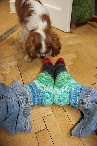 Gimli inspects the new socks