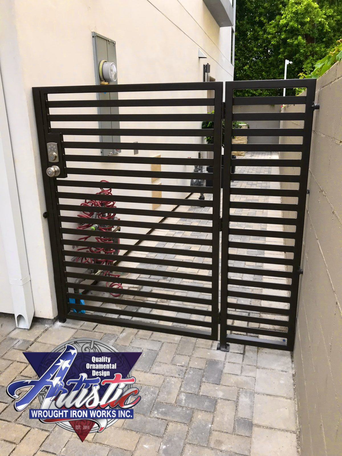 Modern Slotted Side Gates 0193 - Artistic Wrought Iron ...