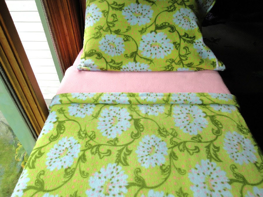 "Girls Bedding Set ''Pink and Green Floral Beauty"" for Girls Handmade Fleece Bed Set Fits Crib and Toddler Beds"