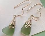 FORREST FERN Genuine Sea Glass Earrings by Lake Erie Beach Glass Lebg