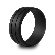 Men's Double Debossed Silicone Wedding Ring  Black