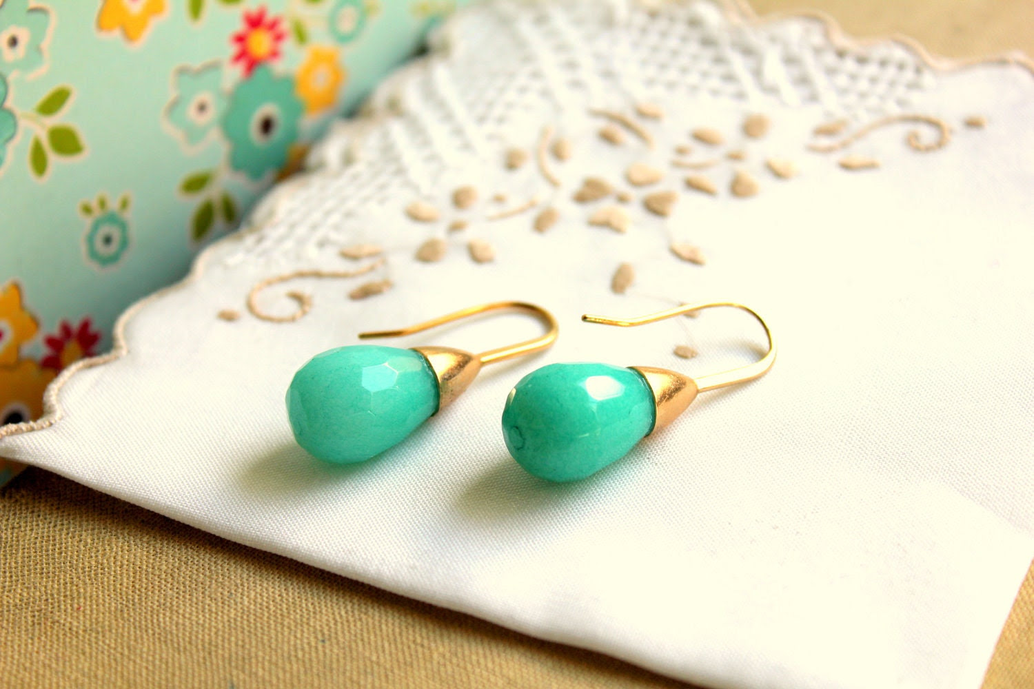Jade earrings - real jade gemstone with goldfield earrings