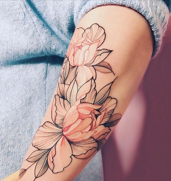 Soft Color Flower Arm Tattoo