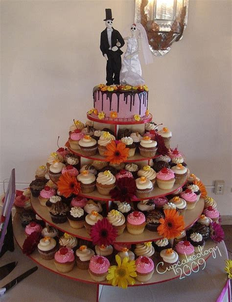Day of the Dead wedding cupcake tower   Day of the Dead