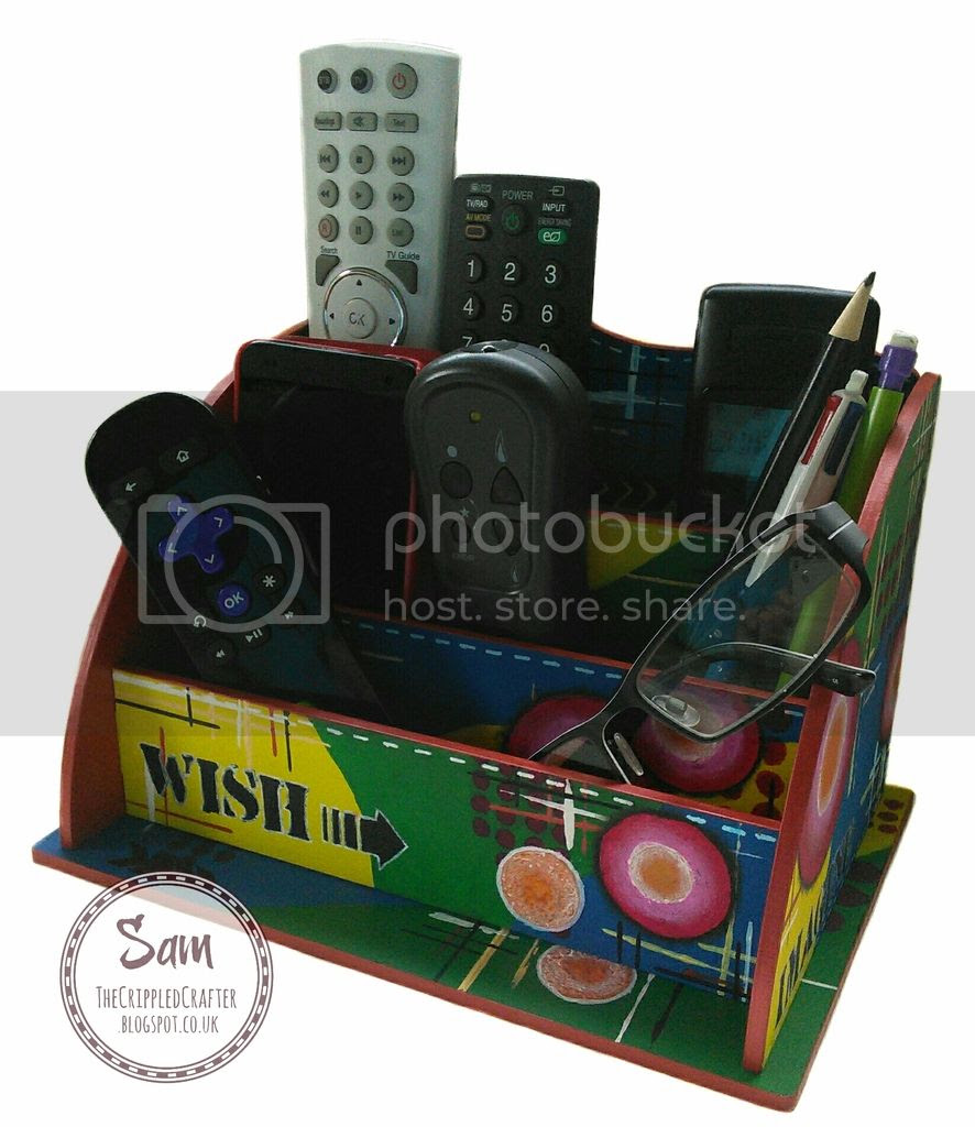Mixed Media home decor - Desk Tidy Remote Control Holder by The Crippled Crafter - MDF by That Craft Place