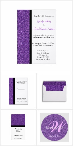 Purple Glitter Wedding Set