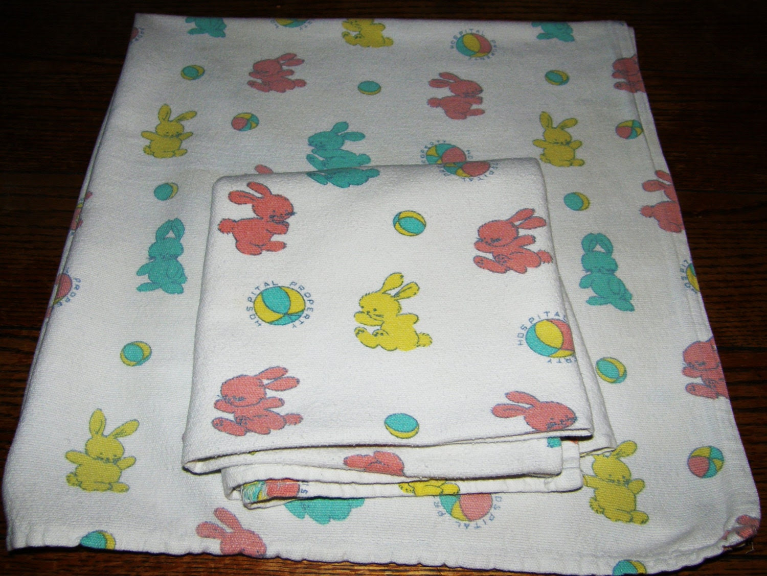 2 Vintage HOSPITAL PROPERTY Baby BLANKETS by pattysoblessed