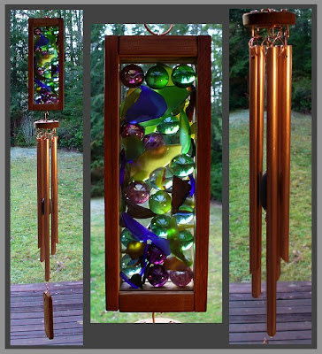 handcrafted wind chime, marbles, beach glass, copper, tim kline